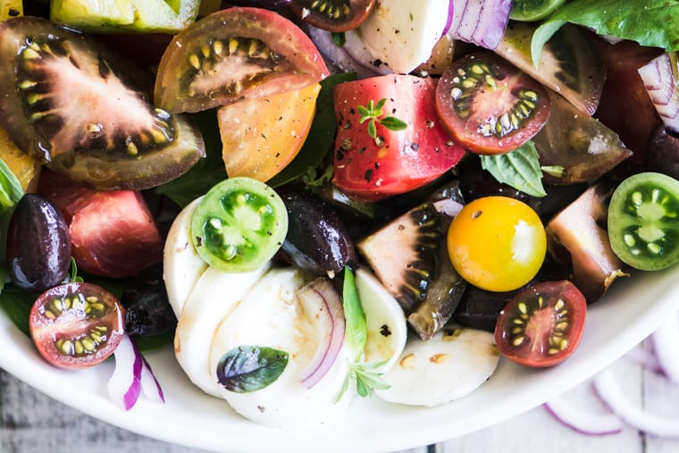Heirloom Caprese Salad with Kalamata Olive Vinaigrette