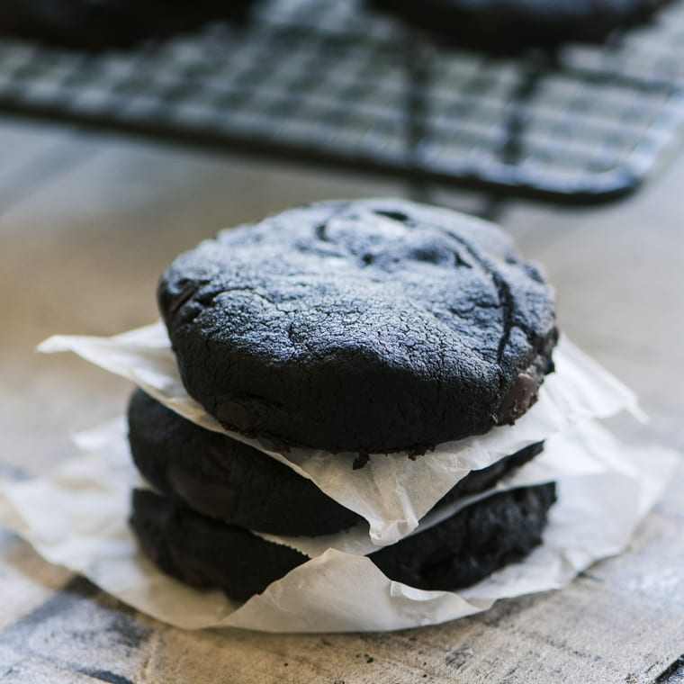 a small stack of double dark chocolate shortbread cookies