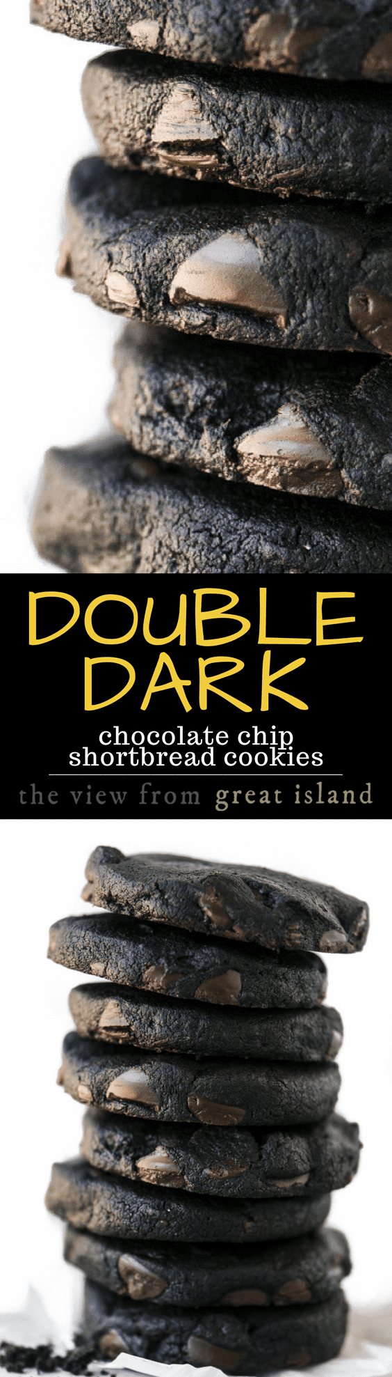 Double Dark Chocolate Chip Shortbread Cookies ~ they melt in your mouth with an explosion of deep rich chocolate that'll make your eyelids flutter... to call it a cookie is to completely miss the point. #COOKIES #CHOCOLATE #CHOCOLATECHIPCOOKIES #SHORTBREAD #BESTCHOCOLATECOOKIES #DARKCHOCOLATE #DARKCHOCOLATECOOKIES #HERSHEYSSPECIALDARK #DARKCHOCOLATECHIPCOOKIES #HOLIDAYS #CHRISTMASCOOKIES #SLICEANDBAKE