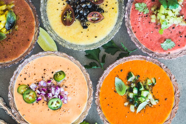 Today I'm making Heirloom Tomato Gazpacho ~ I look forward to making this chilled raw soup from Spain every summer, and this year I've changed it up with some gorgeous multi-colored heirloom tomatoes. If you love tomatoes, love to eat healthy, or just love to wow your friends and family, you're definitely going to love this recipe!