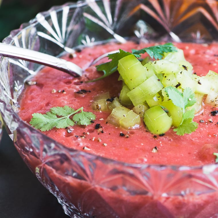 Gazpacho in a cut glass bowl