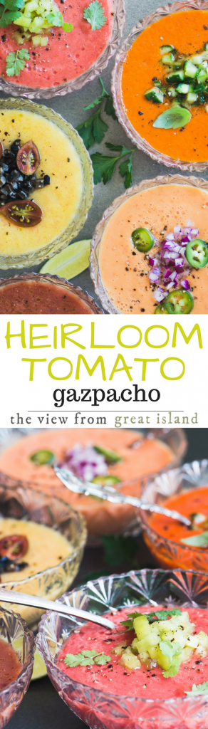 Today I'm making Heirloom Tomato Gazpacho ~ 5 ways! ~ This chilled raw tomato soup from Spain has become a beloved summer institution in our house, and this year I've changed it up with gorgeous multi-colored heirloom tomatoes.