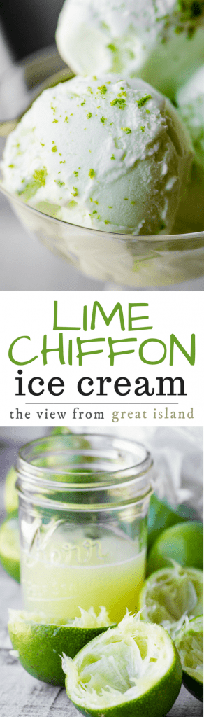 Lime Chiffon Ice Cream ~ this ultra tangy and ultra easy homemade lime ice cream recipe has a secret weapon that makes it the creamiest ice cream ever. No wimpy lime flavor here, this is the REAL DEAL!