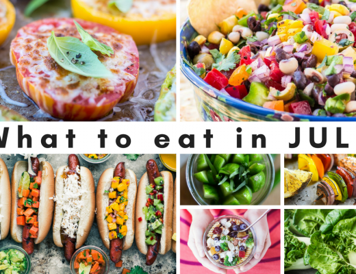 WHAT TO EAT IN JULY ~ from the farmers market to the backyard grill, July is all about fresh, easy food, enjoyed with family and friends. Here are some of my favorite recipes from TVFGI that are perfect for right now!