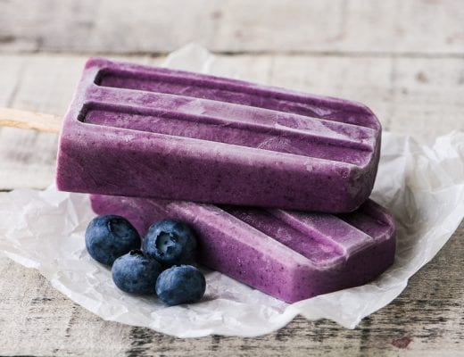 Wild Blueberry Yogurt and Almond Butter Popsicles ~ these vibrant popsicles are made with nonfat yogurt, creamy almond butter, and convenient frozen blueberries for a healthy smoothie on a stick.