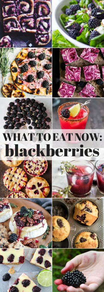 What to Eat Now: Blackberries ~ we're right in the thick of blackberry season, which runs from July to early September across the country ~ so head out to your garden, farmers market, or produce aisle and stock up! I'm giving you plenty of inspiration here to get you through the season ~ and if you think ahead and freeze some of these purple gems you can enjoy these amazing recipes all year long.