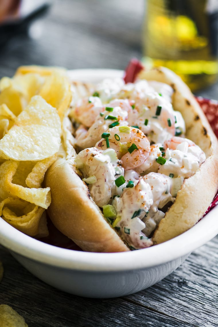 New England style shrimp roll with chips