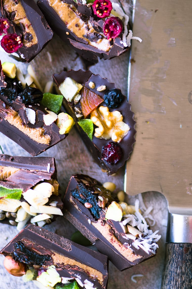 Dark Chocolate Almond Butter Cups, sliced open