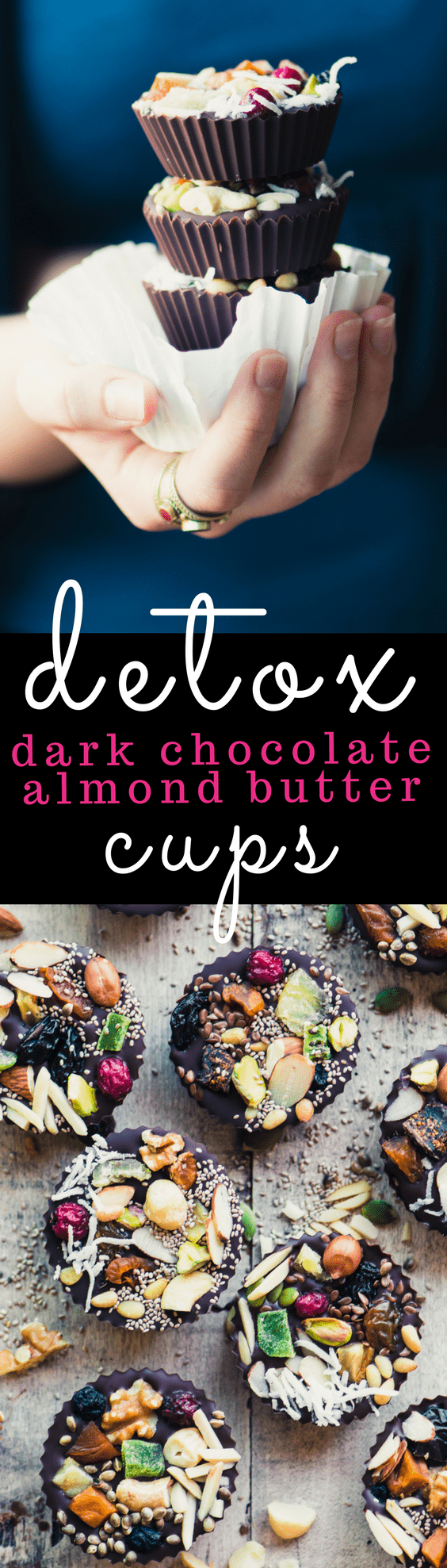 Detox Dark Chocolate Almond Butter Cups ~ do you need a little something sweet every day? Don't wreck your diet with a pint of ice cream or a package of cookies, try one of these healthy dark chocolate almond butter cups. They'll satisfy your cravings without putting a dent in your healthy lifestyle!