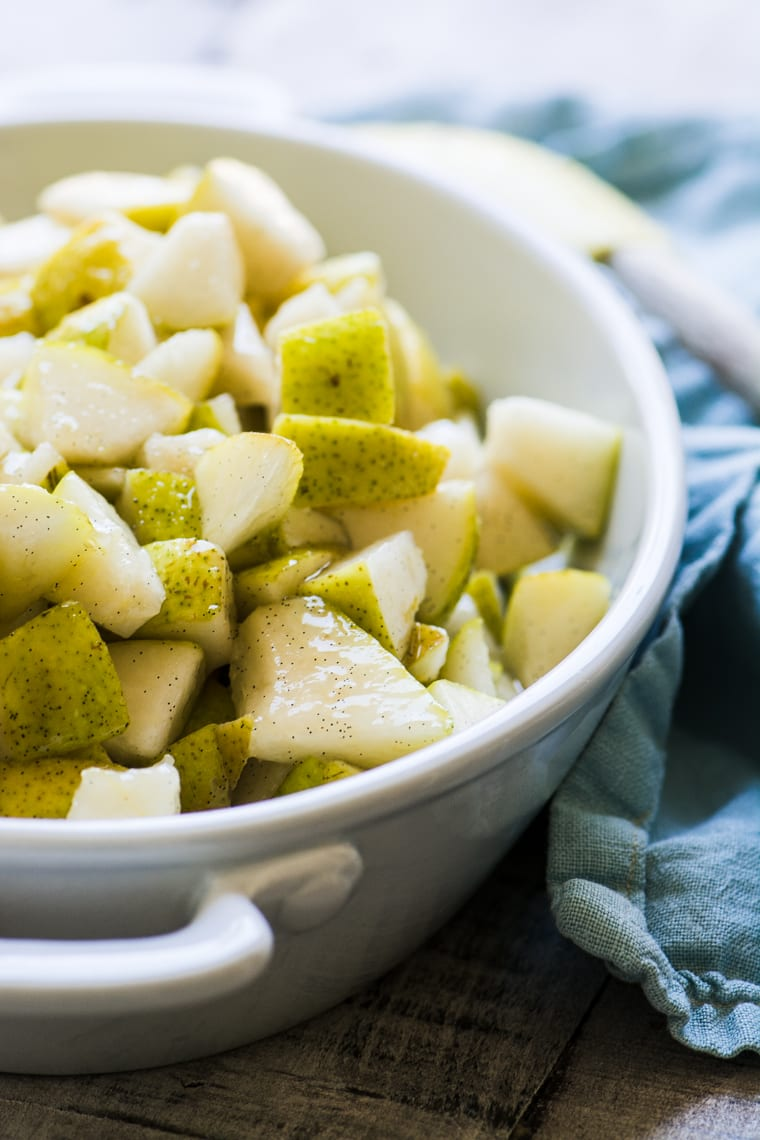 diced pears in a baking dish
