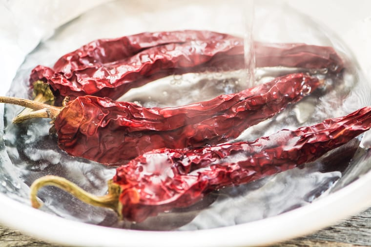 Dried chile pods for Fire Roasted Salsa Negra