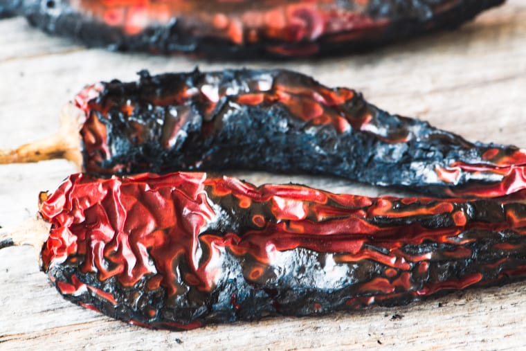 Roasted chiles for Fire Roasted Salsa Negra, Mexican black salsa
