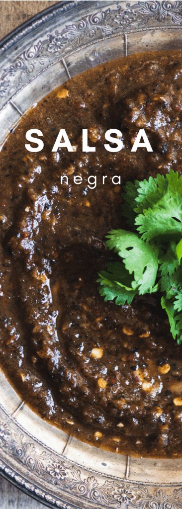 Fire Roasted Salsa Negra ~ this intense Mexican black salsa is made with roasted tomatoes and peppers for a deep dark color and a gutsy flavor. Caution, this recipe involves playing with fire, and a whole lot of smoky spice ~ it's not for the timid!