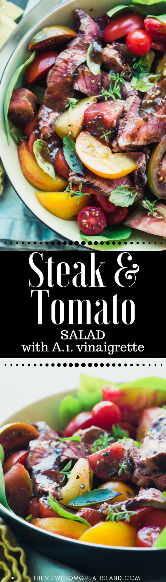 Steak and Tomato Salad ~ this yummy main course salad is as simple as cutting up fabulous end-of-summer tomatoes into rough chunks, and intertwining them with thinly sliced grilled steak. And there's only one word for that vinaigrette ~ wow! #maincoursesalad #steaksalad #tomatosalad #beef #dinner #recipe