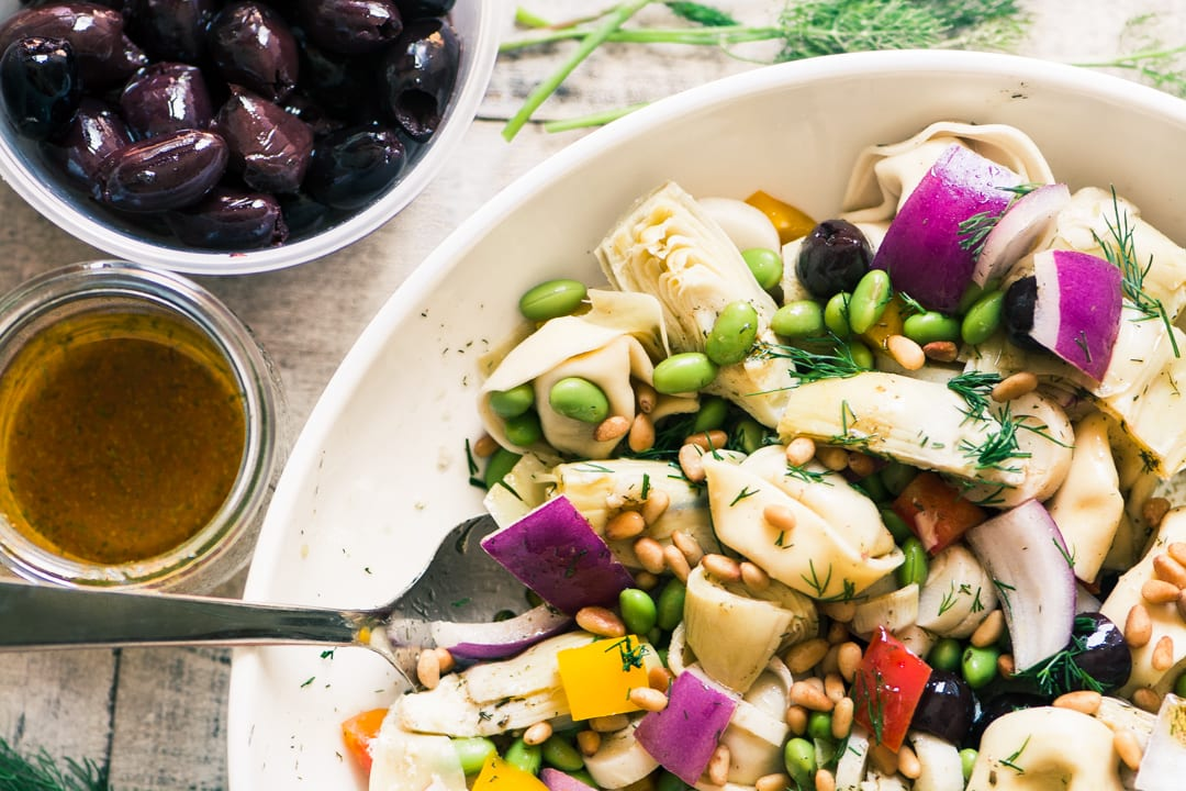 Tortellini Salad with Artichokes and Edamame