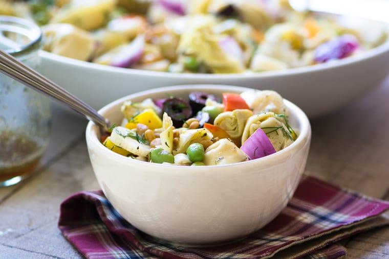 A bowl of Tortellini Salad