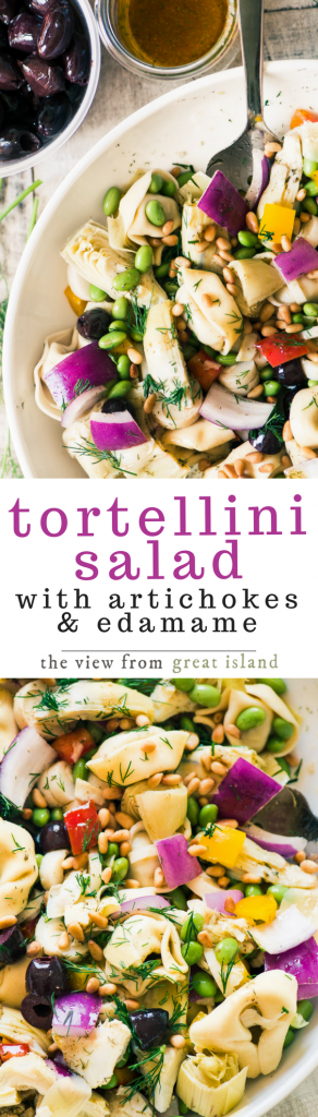 Tortellini Salad with Artichokes and Edamame ~ perfect for those nights when you want (and need) a nice healthy salad for diner, but want (and need) a little shot of protein and carbs along with it, which is, let's face it, most nights these days. | no mayo salad | pasta salad | main course salad | picnic | potluck |