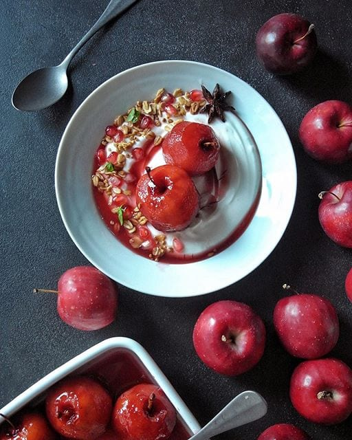 poached apples