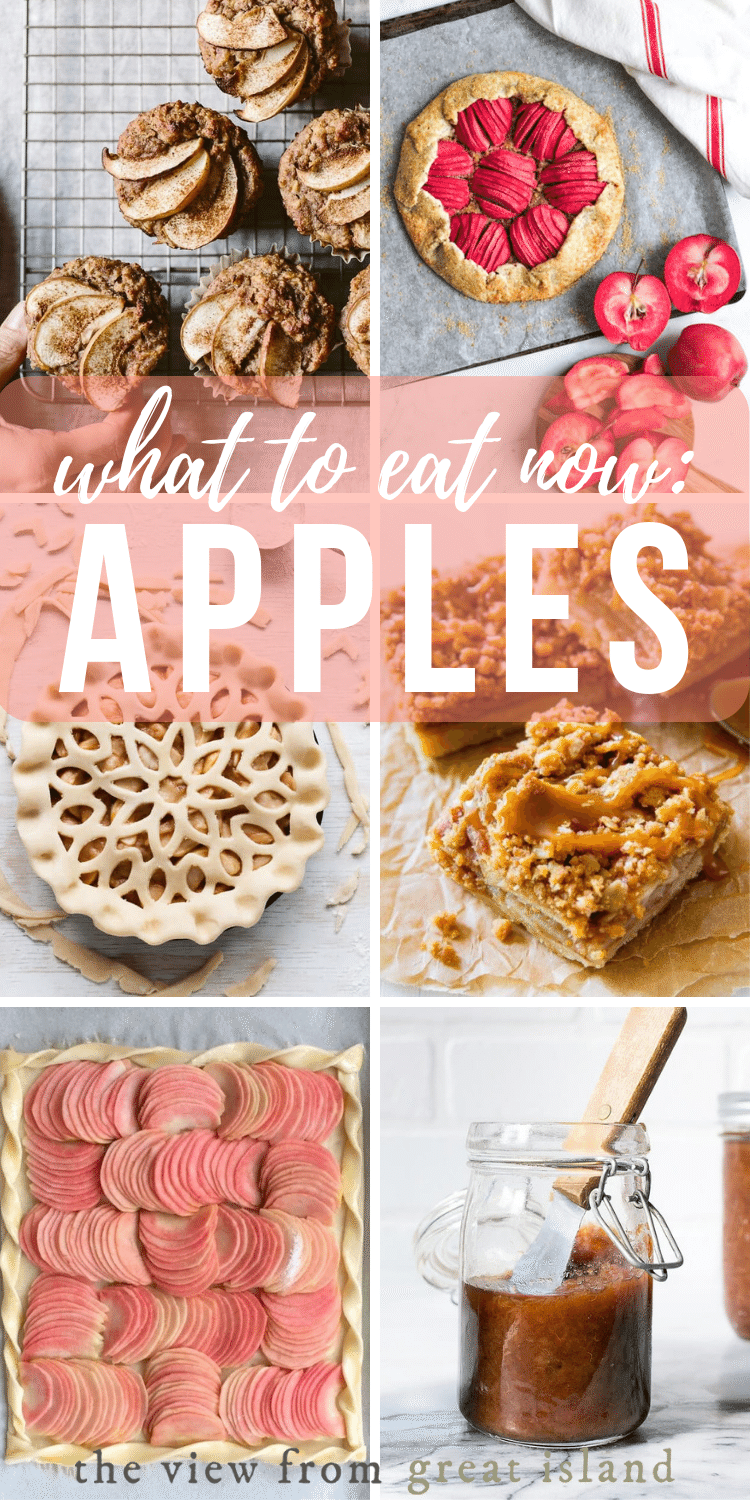 """""""What to Eat Now: Apples"""" pin."""