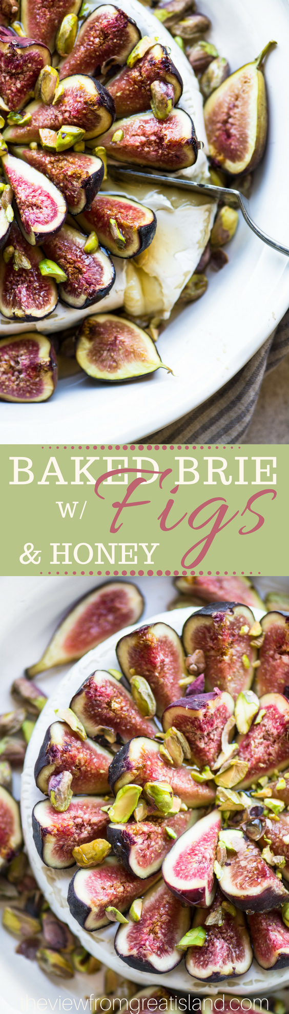 Easy Baked Brie with Figs and Honey ~ this simple baked cheese is your ultimate Fall or holiday appetizer, but it's so rich and decadent you could even serve it for dessert! #appetizer #figs #bakedcheese #hotappetizer #holidayappetizer #bakedBrie #partyfood #Christmasappetizer #Thanksgiving #Thanksgivingappetizer #Christmas