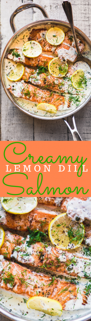 Creamy Lemon Dill Salmon ~ an easy dinner that never fails to please. The salmon is succulent because it's bathed in a creamy wine sauce perked up with lots of lemon juice and fresh dill. #fish #dinner #easysalmon #salmonrecipe #bestsalmon #dill #bestsalmonrecipe #creamsauce #lemondill