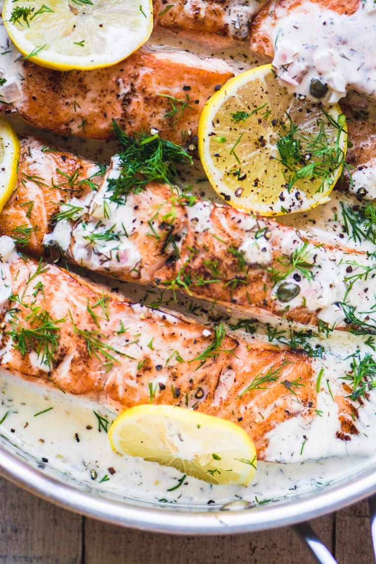 lemon dill salmon in a skillet