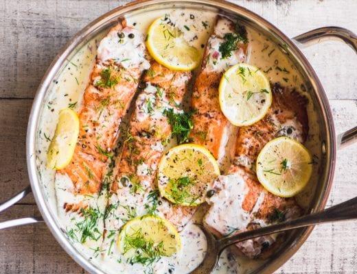 salmon fillets in a skillet