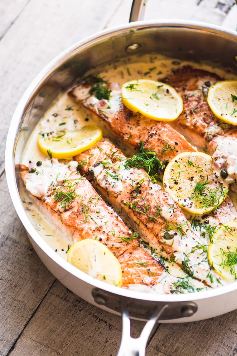 Cooking salmon in a cream sauce