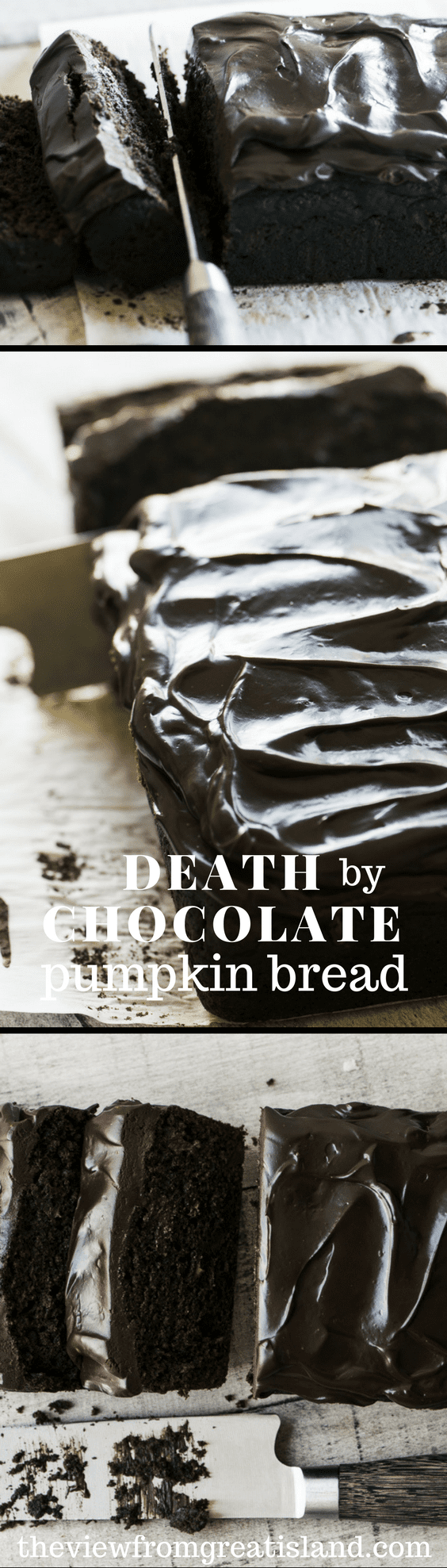 If you love pumpkin, or chocolate, you can't afford to pass up this Death by Chocolate Pumpkin Bread, it's quite decadently delicious, in a fall sort of way!  #pumpkincake #chocolatechippumpkinbread #cake #falldessert #dessert #chocolate #quickbread #loafcake #quickbread