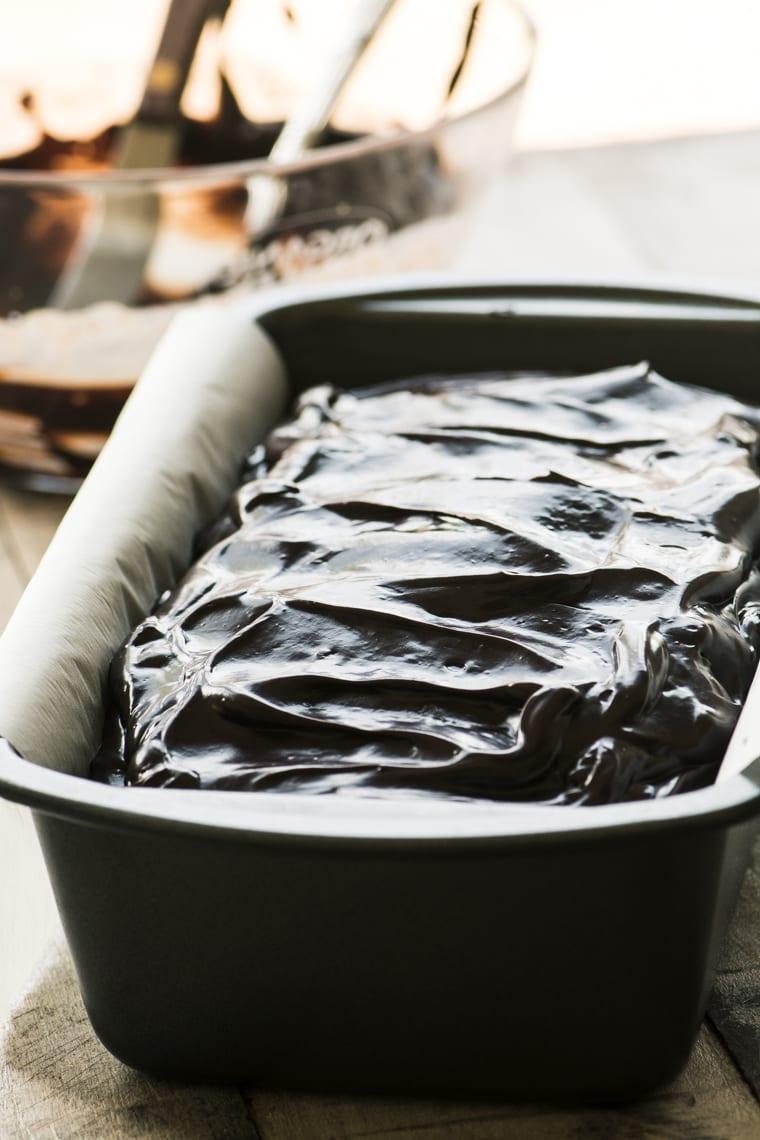 dark chocolate pumpkin bread frosted with chocolate ganache