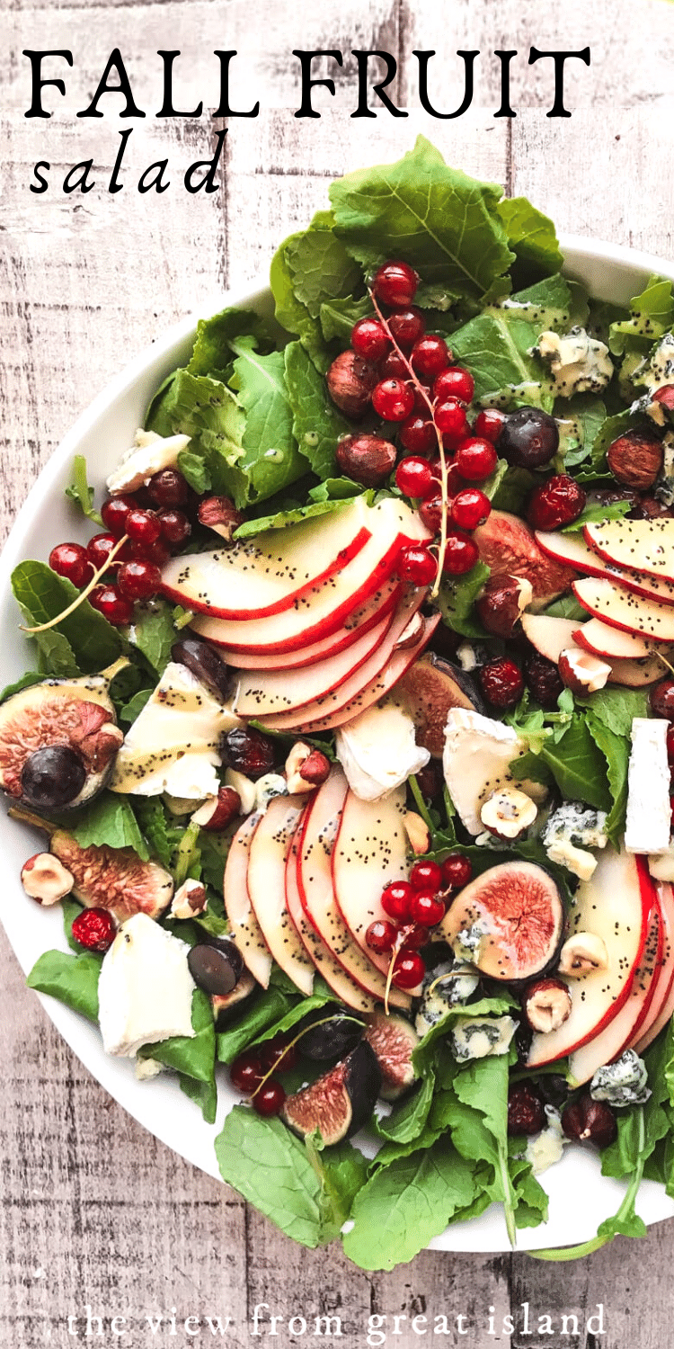 Kale and Fall Fruit Salad with Cider Poppy Seed Dressing pin.