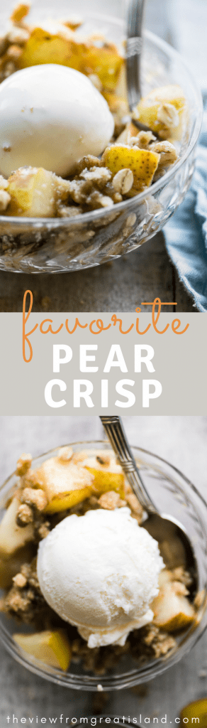 As pear desserts go, pear crisp is the hands down winner if you ask me, and this is my favorite easy pear crisp recipe. It's prepped in minutes, and after just a few more minutes it emerges browned and bubbling out of the oven just begging for a scoop of vanilla ice cream. #dessert #peardessert #falldessert #easyfruitcrumble #easyfruitcrisp #crumble #crisp #glutenfree #glutenfreedessert #bartlettpears