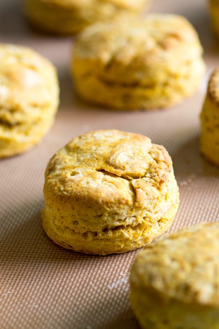 pumpkin spice biscuits on a baking sheet