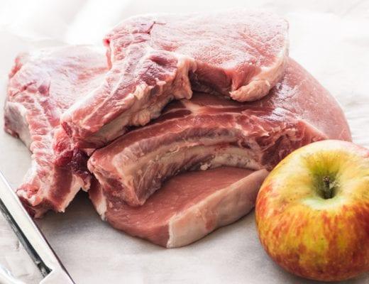 pork chops with an apple