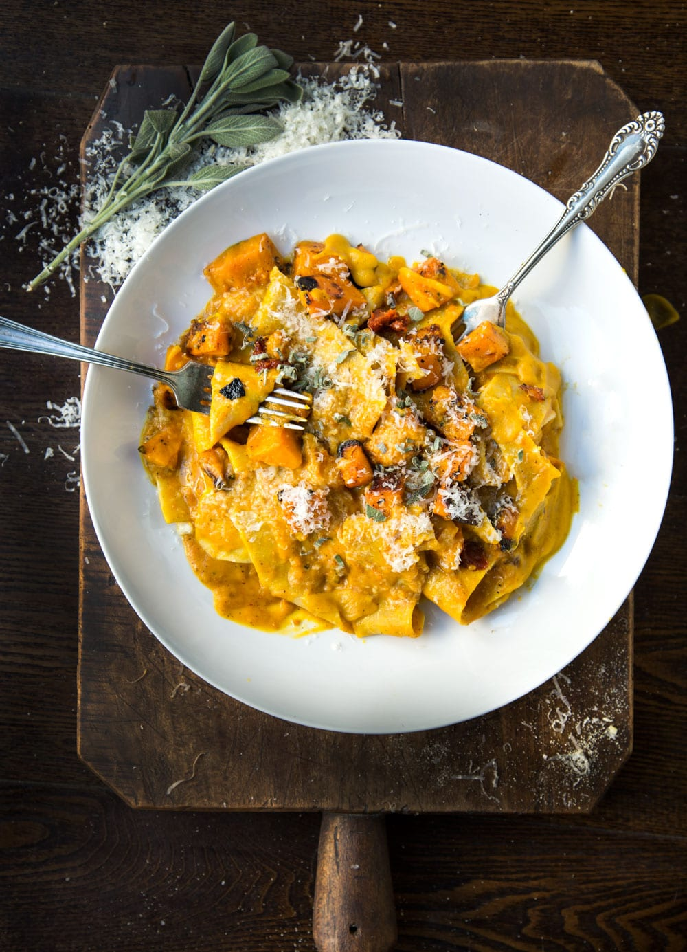 squash pasta in bowl with forks