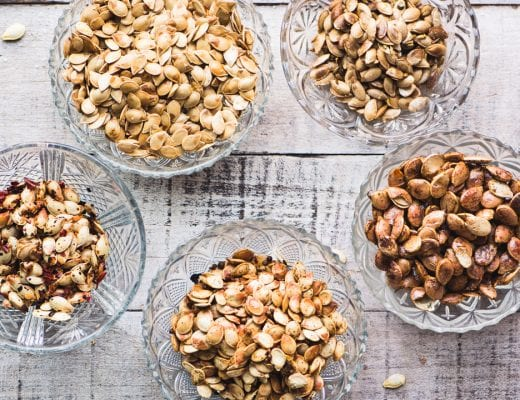 roasted winter squash seeds in small bowls
