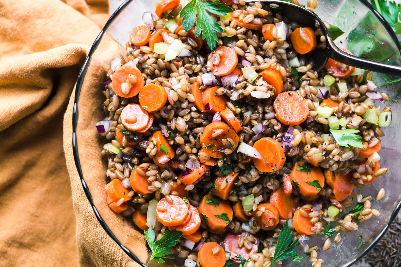Rye and Carrot whole grain salad with parsley