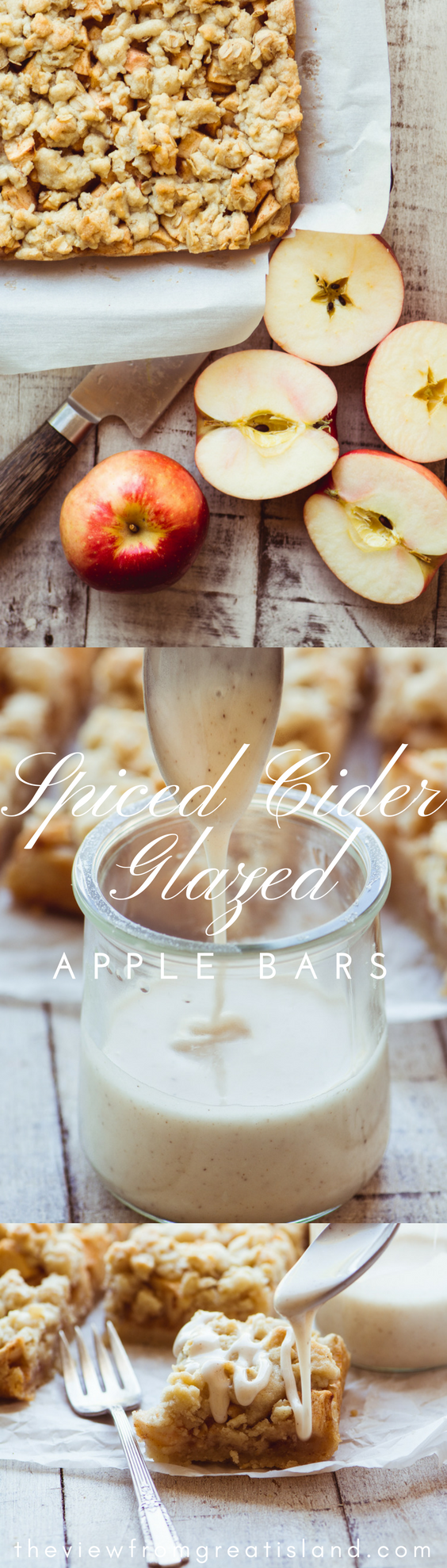 Spiced Cider Glazed Apple Bars pin