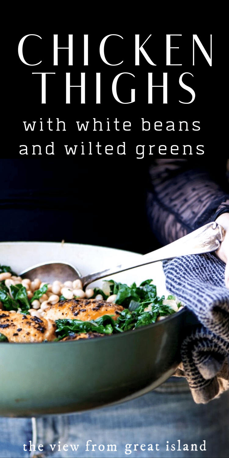 chicken thighs with white beans and wilted greens pin