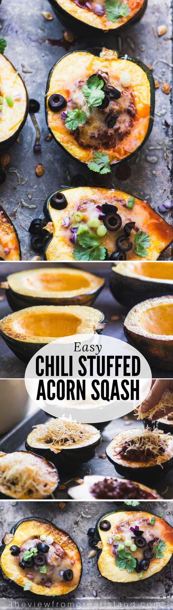 Chili Stuffed Acorn Squash ~ fall is finally in the air and I'm celebrating with the perfect meal for a chilly night. I'm using acorn squash as healthy little bowls for my best chili recipe! #chili #wintersquash #acornsquash #stuffedsquash #dinner #fall #healthychili #beef #groundbeef #falldinner #bestchili #glutenfree