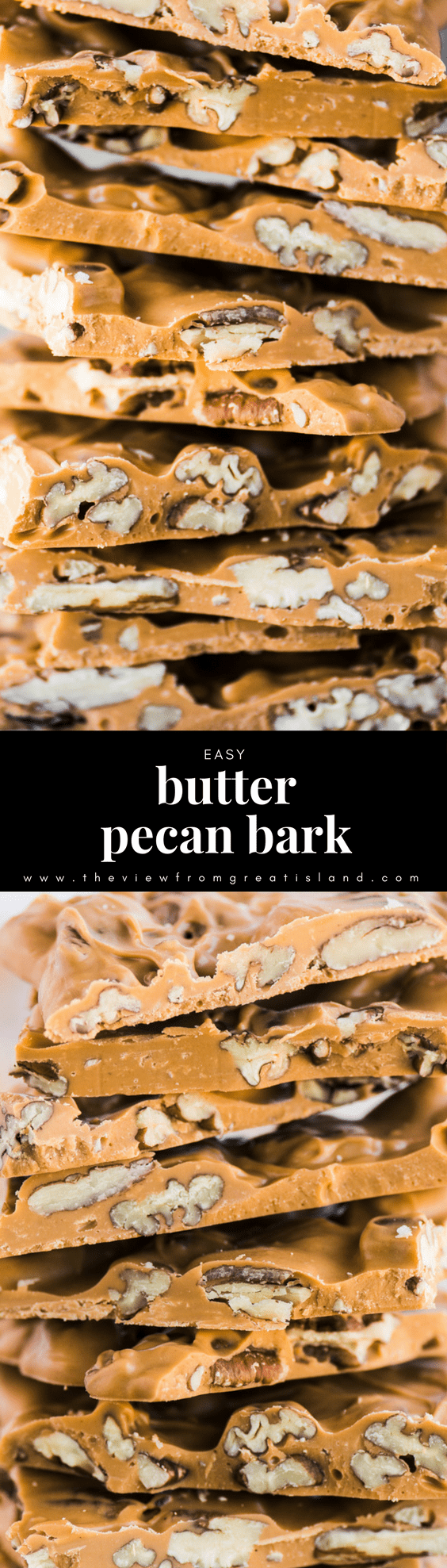 Easy Butter Pecan Bark ~ a pecan studded butterscotch bark that knocks the socks off everybody who tries it. For just 2 ingredients and a few minutes of your time, you owe it to yourself to see what all the fuss is about. #toffee #bark #homemadecandy #butterpecan #foodgift #Christmascandy #Christmasdessert #pecanbark #chocolate #chocolatebark #butterscotchbark #easycandy #easybark