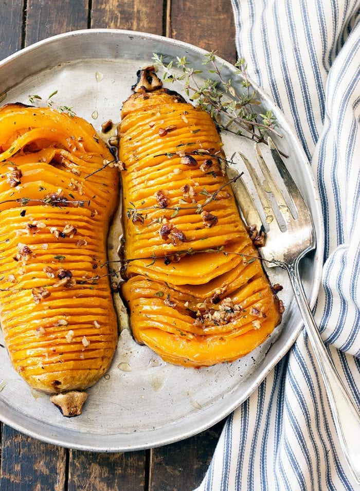 roasted butternut squash on plate with fork