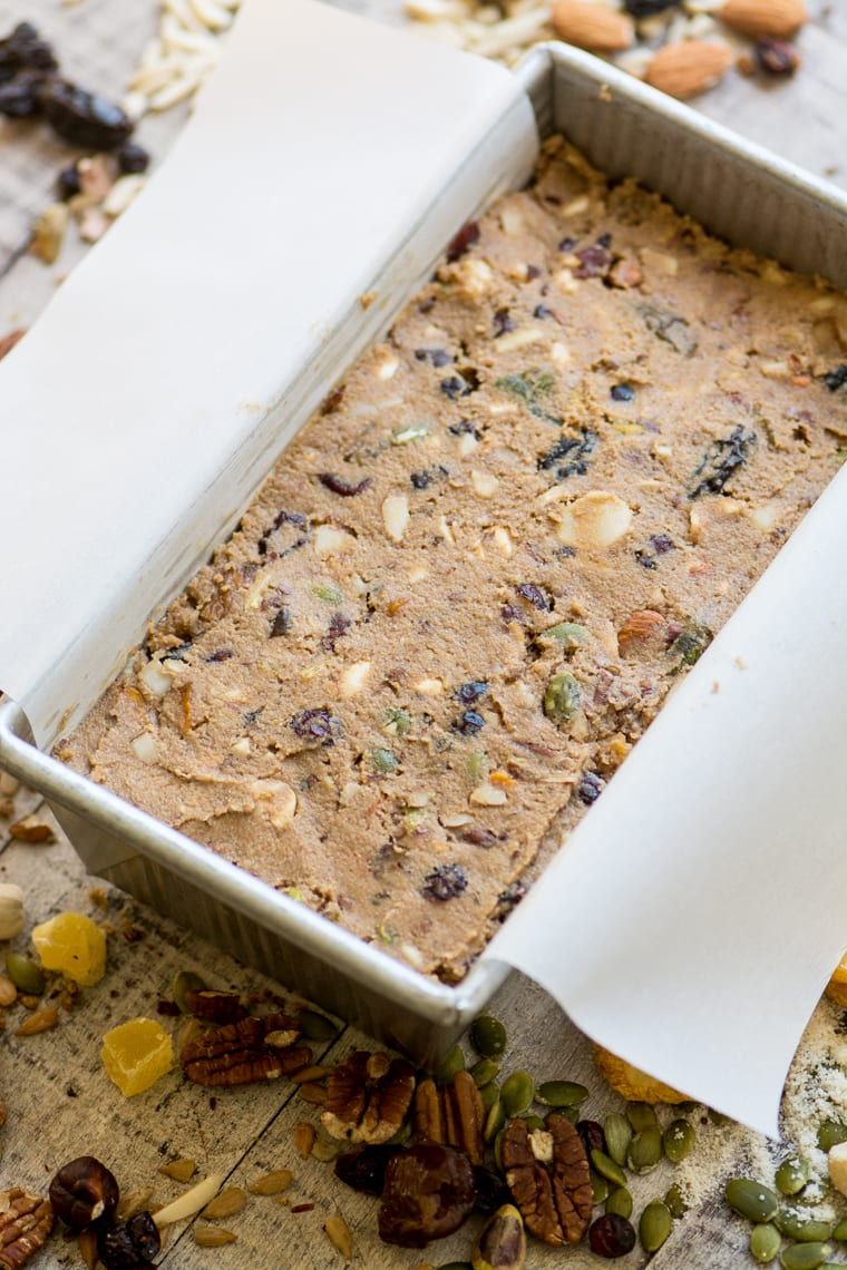 Unbaked loaf of Paleo Fruit and Nut Breakfast Bread.