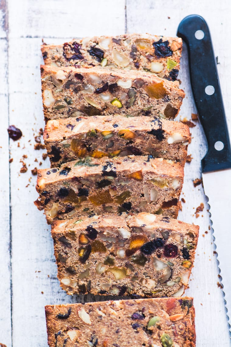 paleo fruit and nut bread, sliced