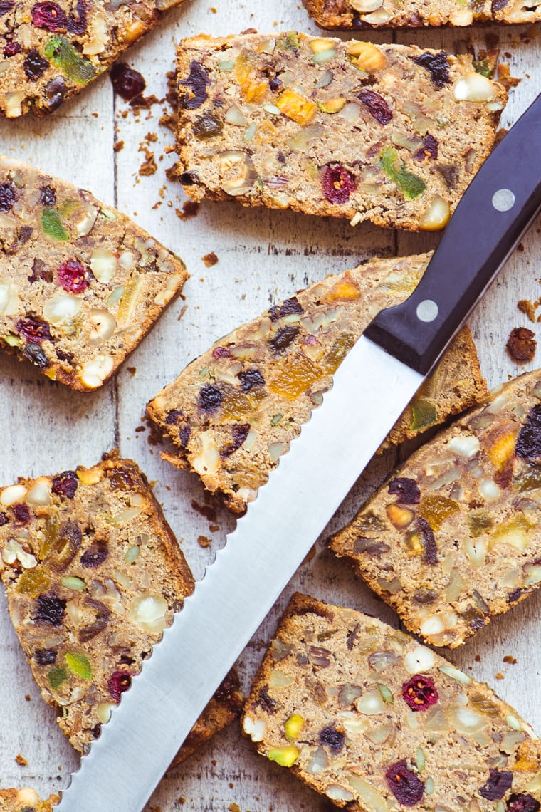 Slices of Paleo Fruit and Nut Breakfast Bread.