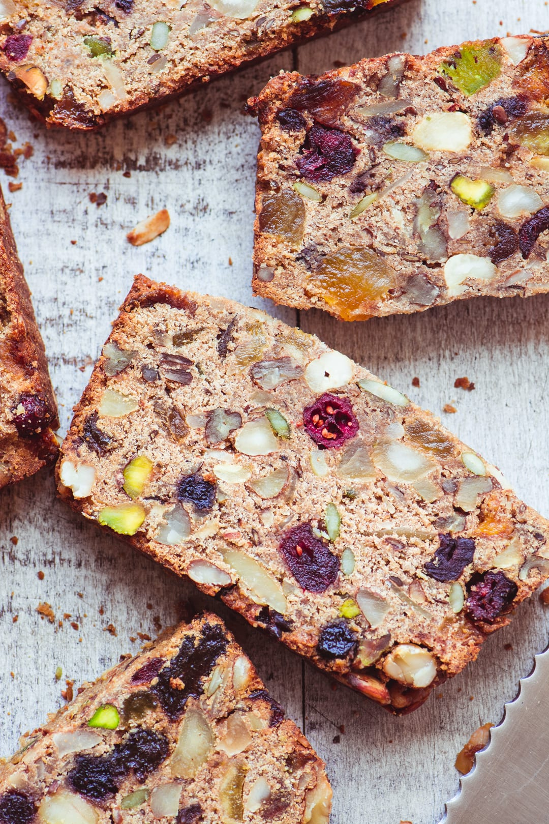 slices of paleo fruit and nut bread