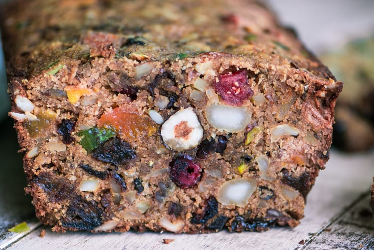 Close-up of a loaf of Paleo Fruit and Nut Breakfast Bread.
