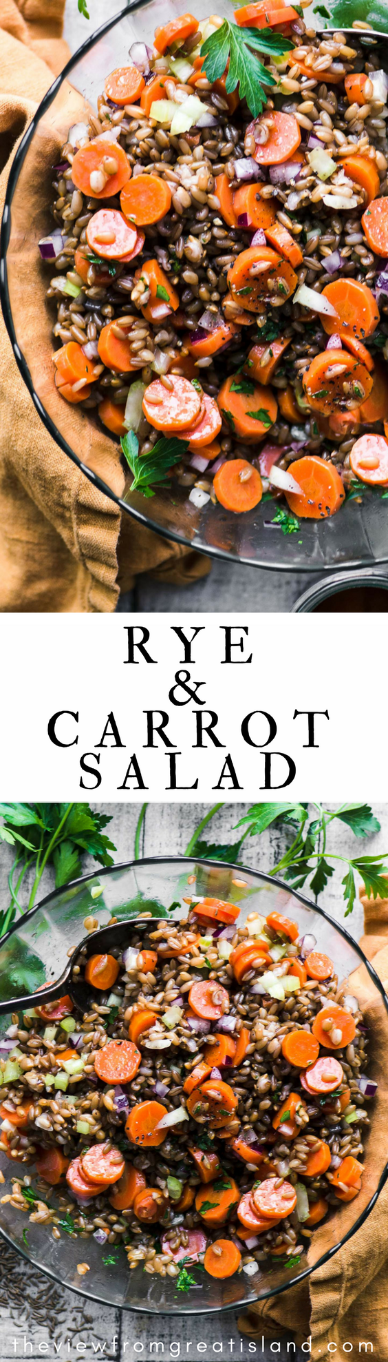 Rye and Carrot Salad ~ I'm all about grain salads in the cooler months, and this one made with healthy rye berries is wholesome, satisfying, and incredibly tasty! Serve it as a side dish or turn it into a week's worth of working lunches! #salad #grainsalad #wholegrain #ryeberries #wintersalad #healthygrains #carrots #highfiber #lunch #ancientgrains #vegan #vegetarian #vinaigrette #fallsalad #holidaysalad