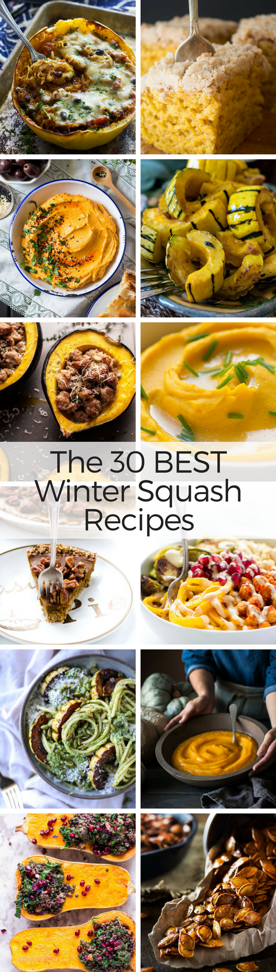 What to Eat Now: Winter Squash ~ there's a wonderland of winter squash out there, and it turns out the good eating goes way beyond pumpkin pie. So let's get all those gorgeous gourds out of the tacky fall displays and into our kitchens, where they belong ~ here are the 30 best winter squash recipes for butternut, acorn, kabocha, hubbard, pumpkin and more! #fall #squash #wintersquash #butternut #acorn #pumpkin #hubbard #delicata #spaghettisquash