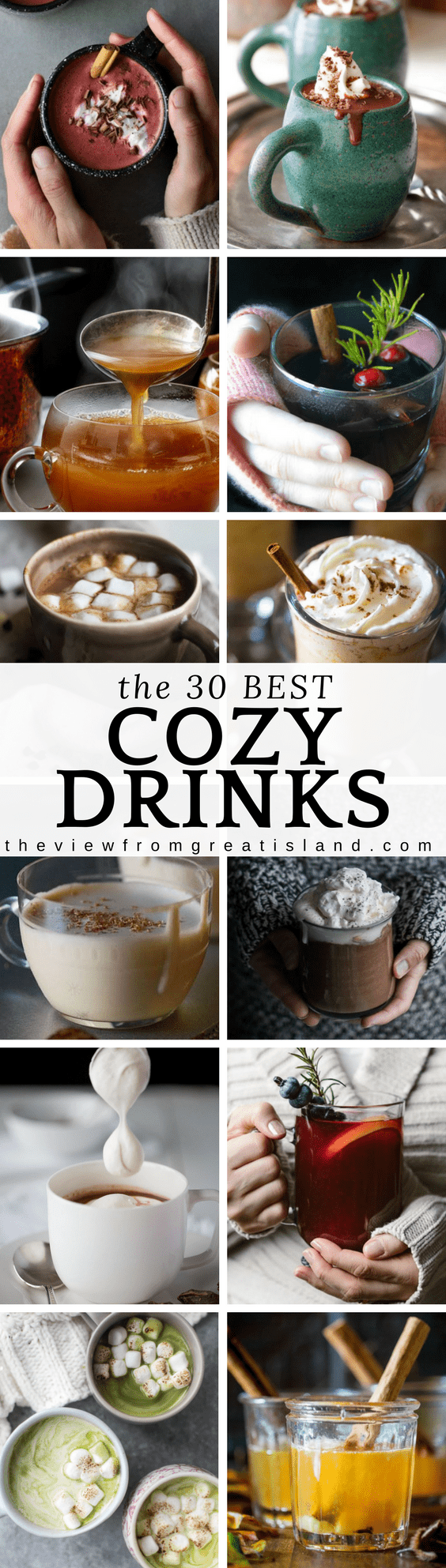 What to Sip Now: Cozy Drinks ~ here are the 30 COZIEST hot beverages perfect for cold winter sipping...everything from hot cocoa to pumpkin steamers! #beverage #hotchocolate #steamers #starbucks #hotcider #mulledcider #mulledwine #redvelvetcocoa #eggnog #hottoddy #hotbutteredrum #matchahotcocoa #drinkablenutella #hotdelcedeleche #pumpkinlatte #spicyhotchocolate #eggnoglatte